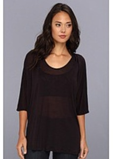 Three Dots 3/4 Sleeve Relaxed Pleated Scoop Neck Top