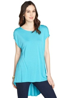 Three Dots aqua blue stretch draped back short sleeve tunic