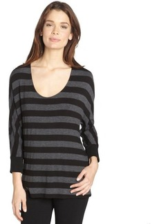 Three Dots black abd grey stripe scoop neck top