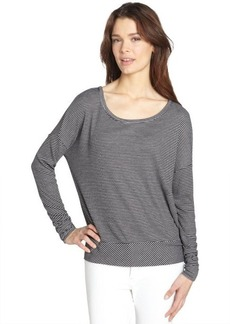 Three Dots black and grey stretch striped pattern long sleeve relaxed tee