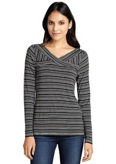 Three Dots black and white multi stripe criss-cross neck top