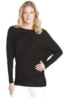 Three Dots black asymmetrical cotton blend tunic