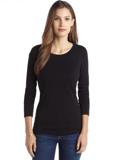 Three Dots black cotton long sleeve open neck shirt