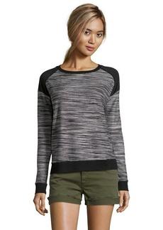 Three Dots black marled knit raglan sleeve sweatshirt