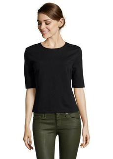 Three Dots black stretch knit structured shirt