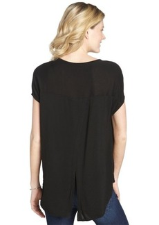 Three Dots black stretch open back short sleeve tee