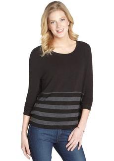 Three Dots black stretch striped pattern long sleeve boxy top