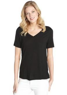 Three Dots black stretch v-neck short sleeve top