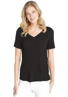 Three Dots black stretch v-neck short sleeve top