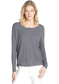 Three Dots blue stretch striped pattern long sleeve relaxed tee
