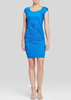 Three Dots Cap Sleeve Ruched Dress
