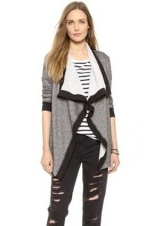 Three Dots Contrast Open Terry Cardigan
