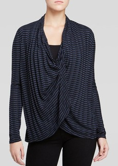 Three Dots Cowl Neck Stripe Cardigan