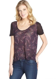 Three Dots dark paisley scoop neck hi-low hem t-shirt