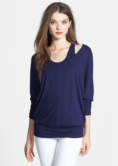 Three Dots Double Layer Stretch Knit Top