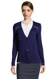Three Dots evening blue stretch knit cardigan