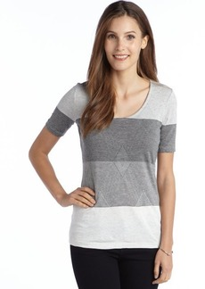 Three Dots grey and black striped stretch knit short sleeve scoopneck tee