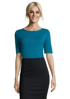 Three Dots ink blue stretch knit boatneck v-back top