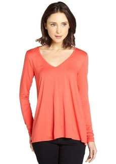 Three Dots mango relaxed hi low v-neck top