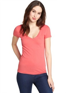 Three Dots mango supima cotton deep v-neck t-shirt