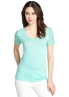 Three Dots mint cotton blend jersey and lace short sleeve t-shirt