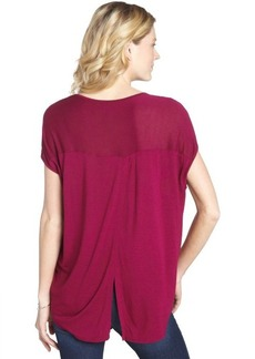 Three Dots mountain rose stretch open back short sleeve tee