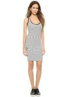 Three Dots Nautical Ponte Striped Dress