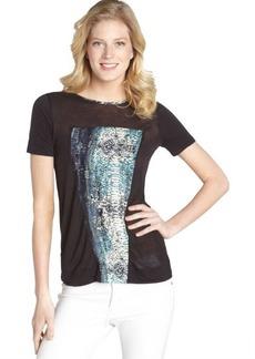 Three Dots navy silk blend laguna blue graphic short sleeve tee