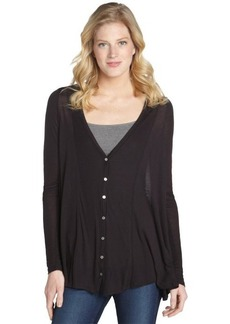 Three Dots navy silk blend rear sheer accent button down cardigan