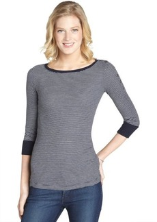 Three Dots night iris and grey striped boatneck top with 3/4 sleeves