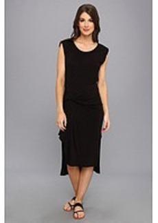 Three Dots Pleat Drape Detail Midi Dress w/ Side Slits And Rolled Cuff
