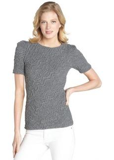 Three Dots pucker charcoal grey puff sleeve blouse