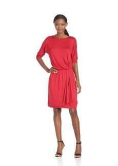 Three Dots Red Women's Dolman Slve Dress With Center Keyhole