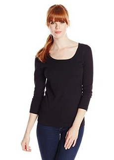 Three Dots Red Women's Scoop Neck Top