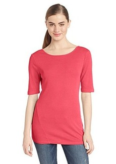 Three Dots Red Women's Short Sleeve Boatneck Shirt with V Back