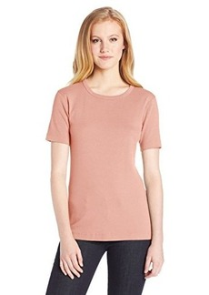 Three Dots Red Women's Short Sleeve Crew Neck