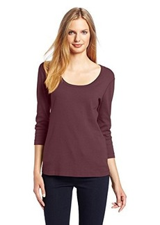 Three Dots Red Women's Three-Quarter Sleeve Tee Shirt