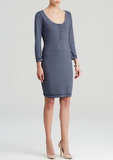 Three Dots Reversible Henley Stripe Dress