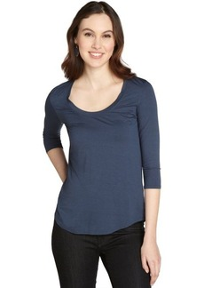Three Dots seastorm stretch jersey 3/4 sleeve relazed top