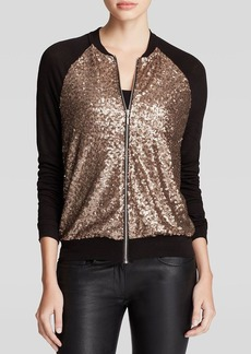Three Dots Sequined Bomber Jacket