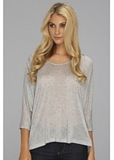 Three Dots Sheer Jersey Relaxed Pleated Scoop Neck Top