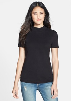 Three Dots Short Sleeve Mock Neck Top