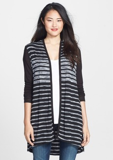 Three Dots Space Dye Stripe Open Front Cardigan