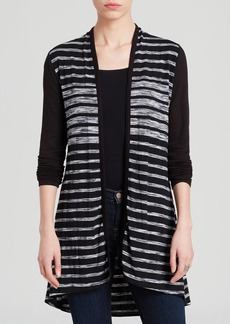 Three Dots Striped Long Cardigan
