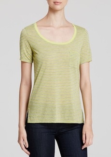 Three Dots Striped Scoop Neck Tee