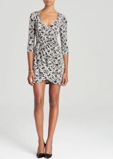 Three Dots Three-Quarter Sleeve Printed V-Neck Dress