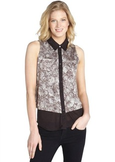 Three Dots watermark grey and black sleeveless button front shirt