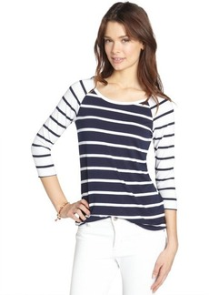 Three Dots white and blue stretch striped three quarter sleeve raglan t-shirt