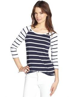 Three Dots white and blue stretch striped three quarter sleeve raglan t-shirt