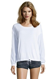 Three Dots white cotton blend knit sheer detail shirt